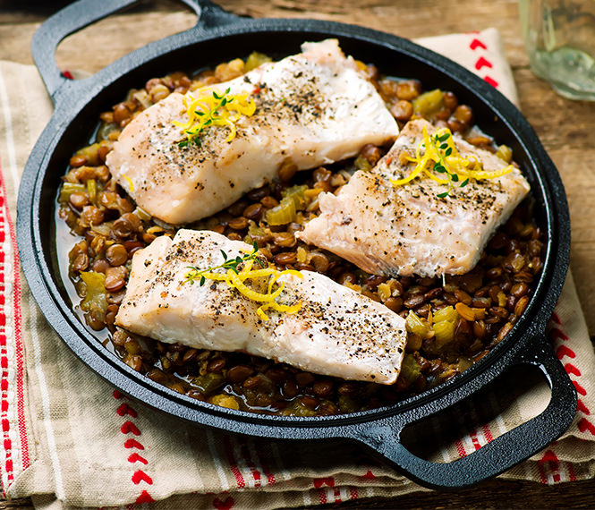 Cod Fillets with Lentils