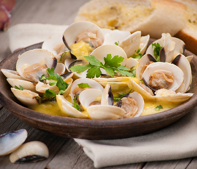 Clams with Spicy Orange Cilantro Butter