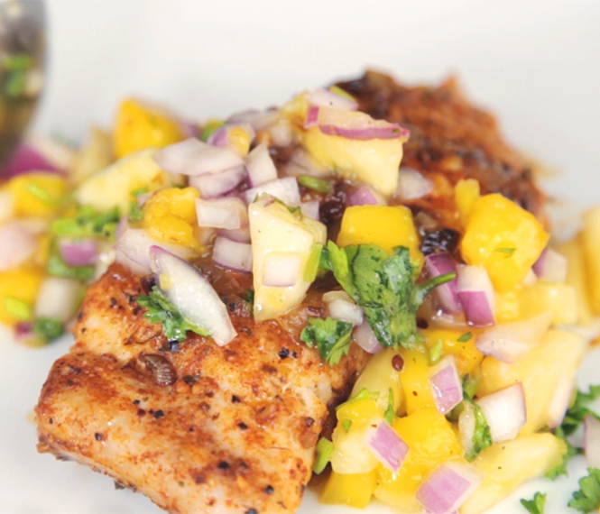 Cajun Mahi Mahi With Mango Pineapple Salsa