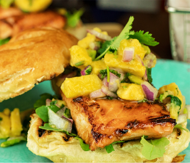 Salmon Sandwich with Avocado Salsa