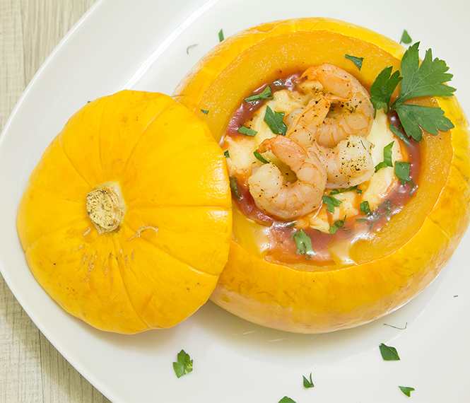 Camarão na Moranga (Shrimp in pumpkin)